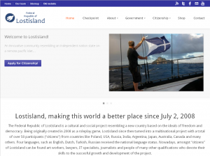 Screenshoted homepage of the new website of the Federal Republic of Lostisland.