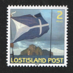 2 reais stamp depicting the flag of Lostisland in front of Hunter Island.