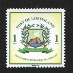Coat of Arms of Lostisland printed on the first postage stamp issued in 2012 by Lostisland Post.