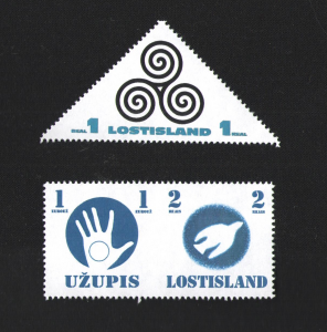 The new 1 real standard stamp and the Joint Issue with Užupis.